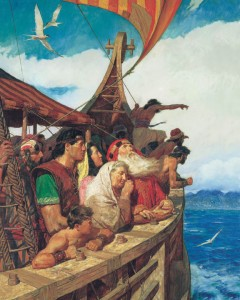 Mormon Lehi travels with his family.