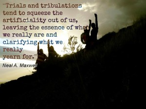 Four people climbing a mountain at sunset, with a quote about trials from Neal Maxwell.